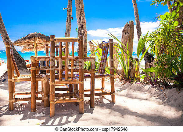 Outdoor cafe on the beach - csp17942548