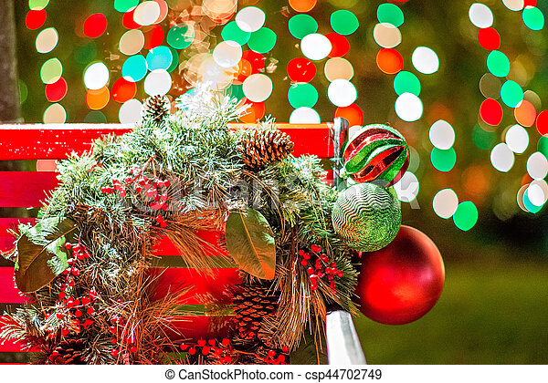 outdoor christmas decorations at christmas town usa csp44702749
