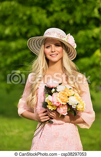 Outdoor Fashion Model Portrait Young Woman Summer Hat Flowers Bouquet