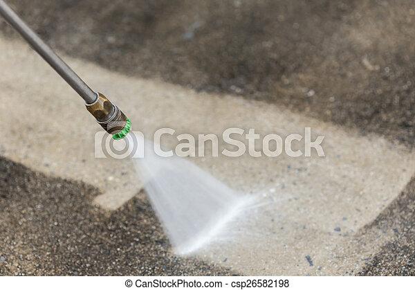 Outdoor floor cleaning with high pressure water jet - csp26582198