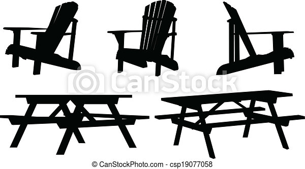 Outdoor Furniture Silhouette Set Of Outdoor Picnic Tables