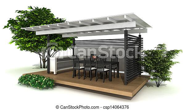 Outdoor kitchen - csp14064376