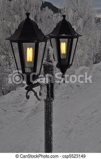 outdoor lights in the winter - csp5523149