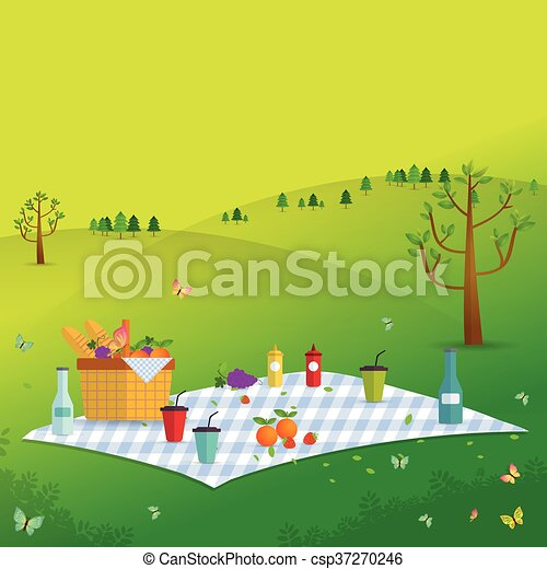 Outdoor picnic in Mountains - csp37270246