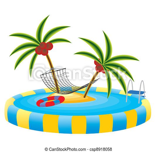 outdoor pool and tropical island outdoor pool in the garden rh canstockphoto com cartoon tropical island clipart