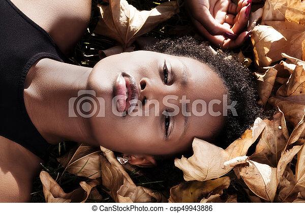 Outdoor Portrait Attractive African American - csp49943886