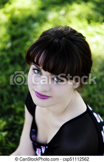 Outdoor Portrait Caucasian   From Above - csp51112562