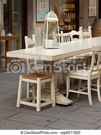 Outdoor restaurant table - csp8371820