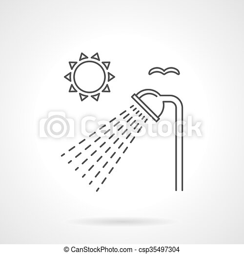 shower head clipart. Outdoor Shower Flat Line Vector Icon Head Clipart T