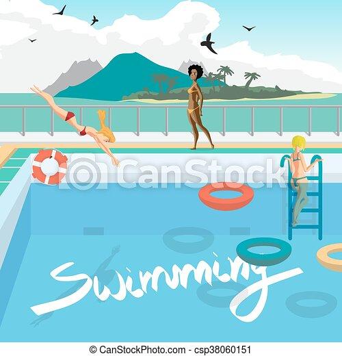 Outdoor Swimming Pool On The Beach In The Tropics Women Bathe Sunbathe Dive Into The Pool