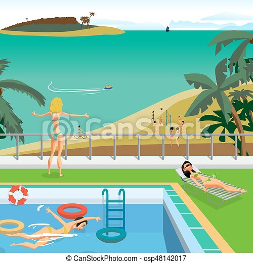 Outdoor Swimming Pool On The Beach In The Tropics Young Women Bathe In The Pool Sunbathe