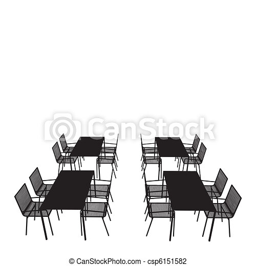 Vector Illustration Of Outdoor Tables And Chairs Vector Csp - Conference room table and chairs clip art