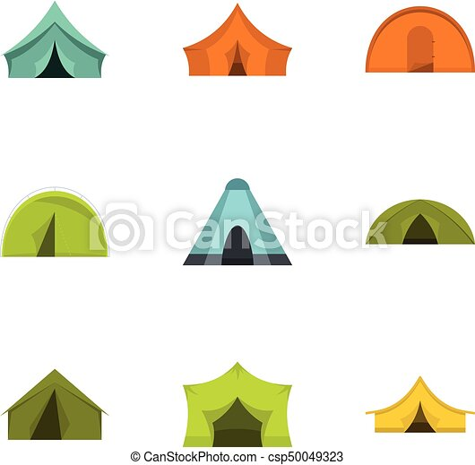Outdoor tent form icon set, flat style