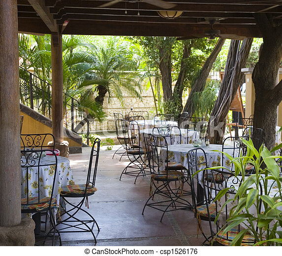 Outdoor Tropical Cafe An Outdoor Patio Restaurant In The