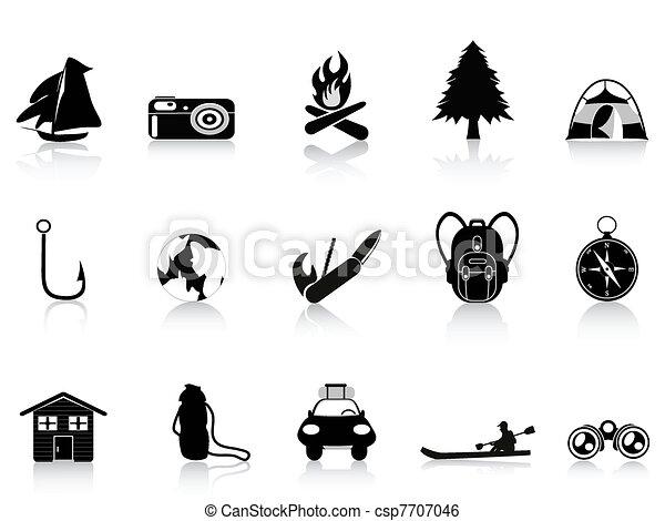 outdoors, czarnoskóry, obozowanie, ikona - csp7707046