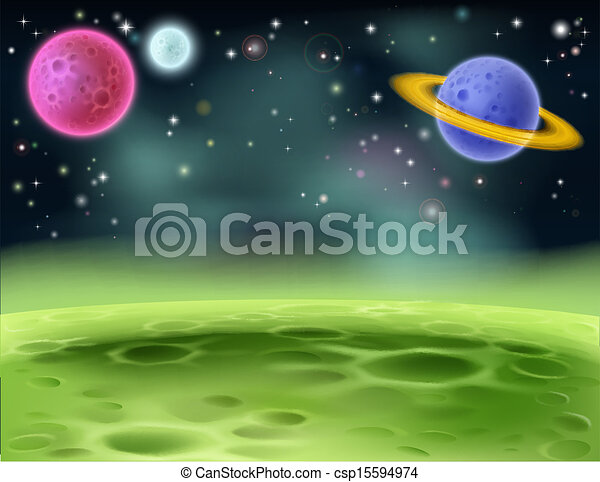 Outer Space Cartoon Background - csp15594974