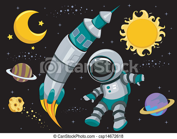 Illustration of outer space design elements on black for Outer space design