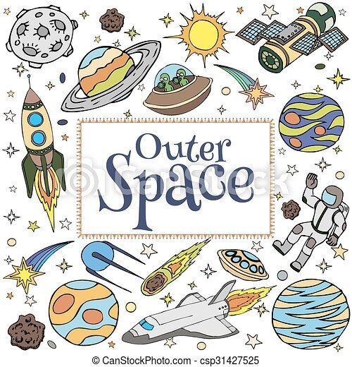 Outer Space Doodles Symbols And Design Elements Cartoon Space