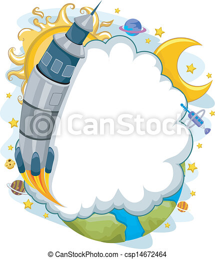 Outer Space Rocket Launch with Cloud Frame Background - csp14672464