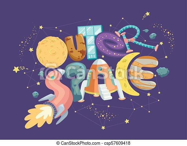Outer Space Ship Lettering Illustration Illustration Of