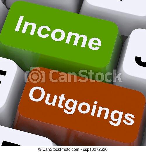 outgoings, tonen, sleutels, het in de begroting opnemen, inkomen, boekhouding - csp10272626