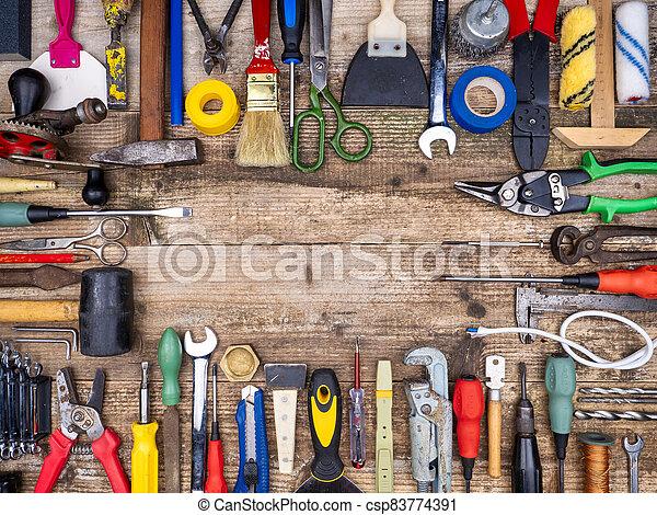 outils, arrière-plan., frame., outillage, construction, bois - csp83774391