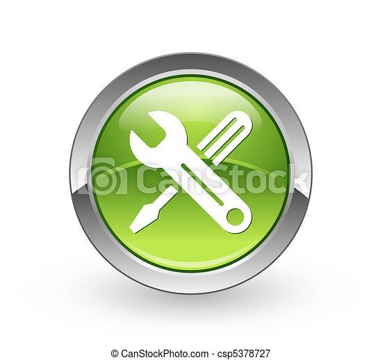 outils, bouton, -, sphère verte - csp5378727