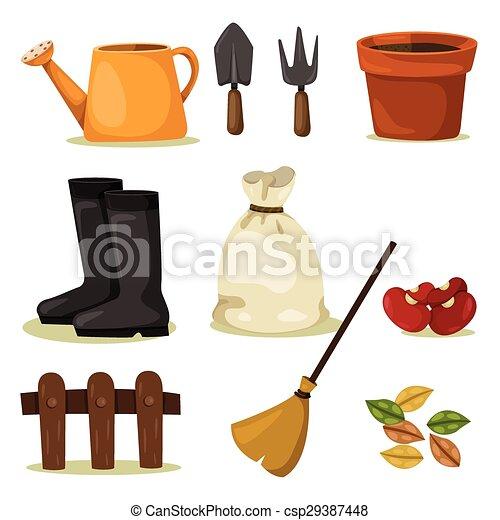 outils, ensemble, jardinage, illustrateur - csp29387448