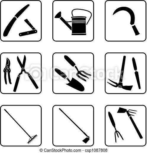 Outils jardinage outils silhouettes blanc noir jardin for Dessin outils jardinage