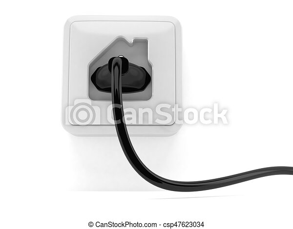 Outlet in house shape with electric plug isolated on white ...