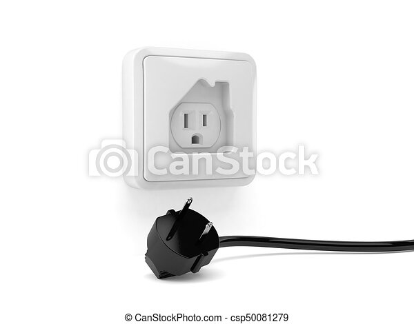 Outlet in house shape with electric plug isolated on white... stock ...