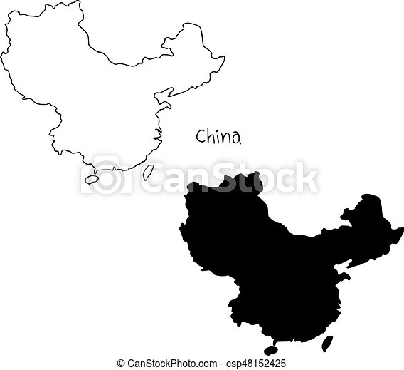 Outline And Silhouette Map Of China   Vector Illustration Hand Drawn With  Black Lines, Isolated On