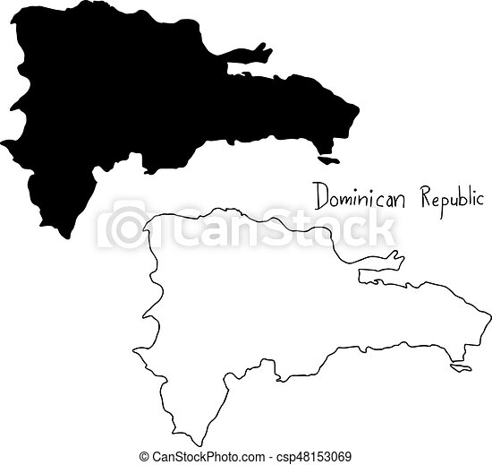 Outline And Silhouette Map Of Dominican Republic Vector Clip - Map silhouette