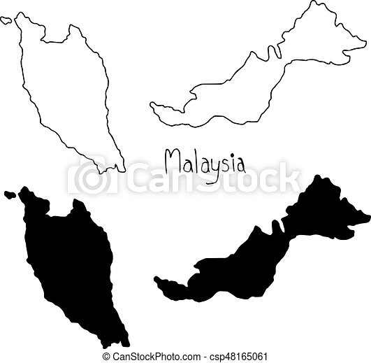 Outline And Silhouette Map Of Malaysia Vector Illustration - Map silhouette