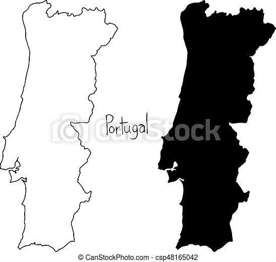 Outline And Silhouette Map Of Portugal Vector Illustration - Map silhouette