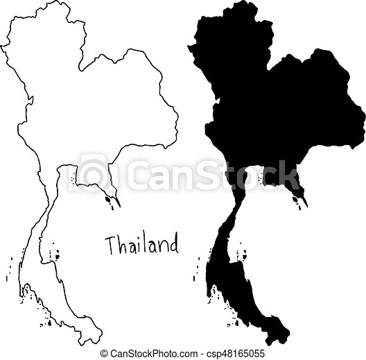 outline and silhouette map of Thailand - vector illustration hand drawn  with black lines, isolated on white background