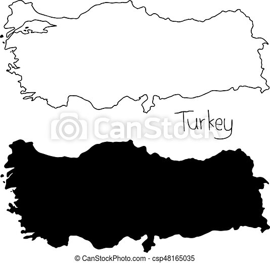 Outline and silhouette map of turkey - vector illustration hand ...