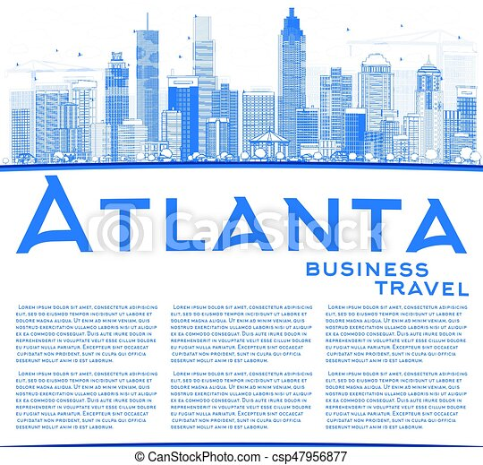 outline atlanta skyline with blue buildings and copy space vector
