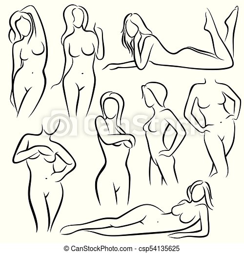 Outline beautiful woman vector silhouettes. line female body beauty ...