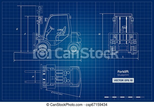 Outline blueprint of forklift  Top, side and front view  Hydraulic  machinery image  Industrial document with loader  Diesel vehicle drawing