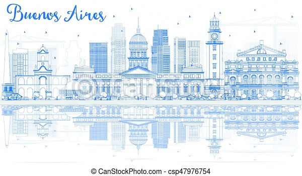 Outline Buenos Aires Skyline with Blue Landmarks and Reflections. - csp47976754