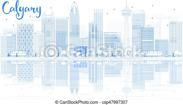Outline Calgary Skyline with Blue Buildings and Reflections. - csp47997307