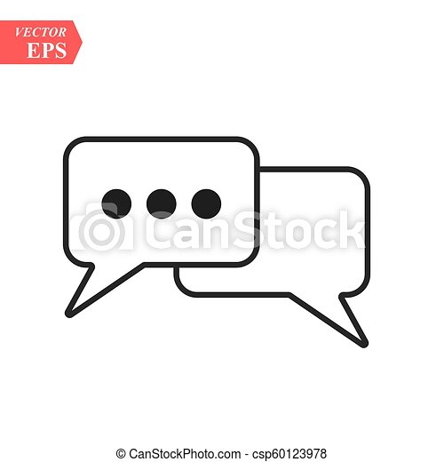 Outline Chat Icon isolated on grey background. Line Dialogue pictogram. Speech bubble symbol for your web site design, logo, app, UI. Editable stroke. Vector illustration. EPS10 - csp60123978