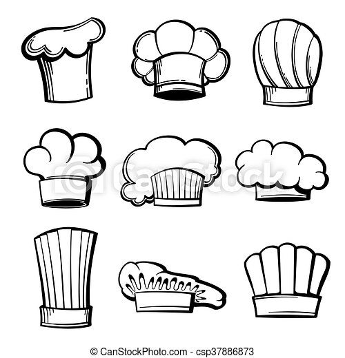 Outline Chef Hats And Toques Vector Set