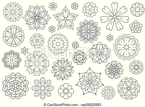 outline doodle flowers for adult coloring book beautiful floral background for color artwork monochrome zentangle backdrop summer flower drawing