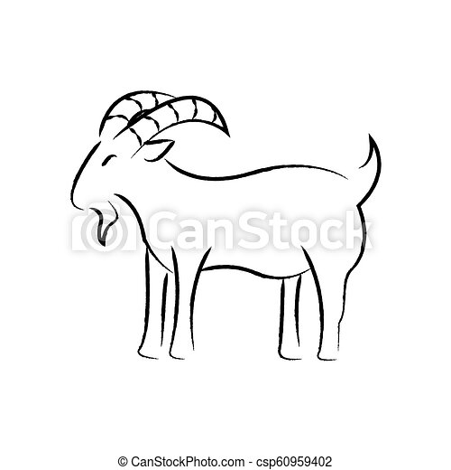 Outline draw goat