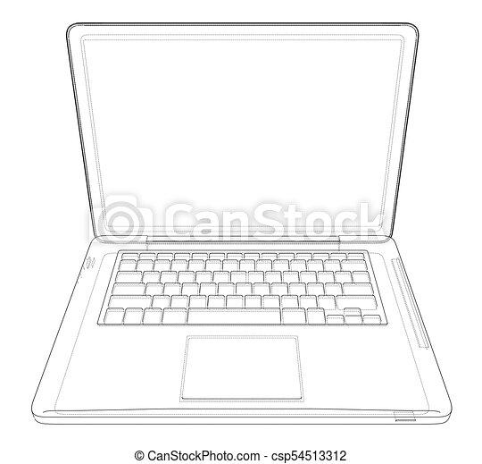 Outline drawing laptop  Vector illustration