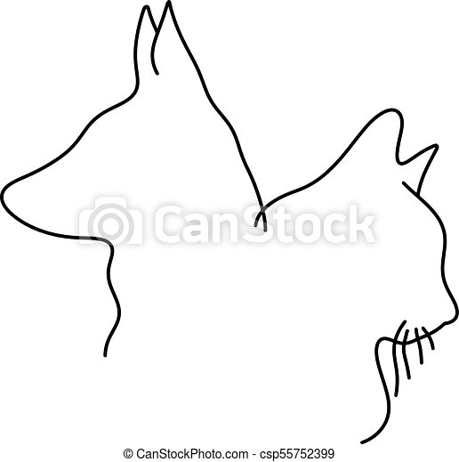 Outline Drawing Of Cat And Dog Head Minimalist Vector Illustration