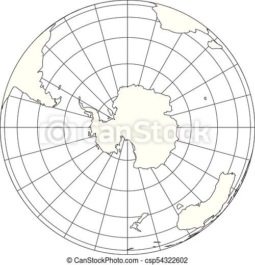 Outline Earth Globe With Map Of World Focused On Antarctica Vector