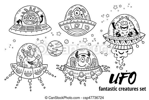 OVNI. Criaturas fantásticas preparadas. Ilustración de vectores. Libro de color - csp47736724